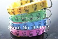 Wholesale - Free Shipping Christmas LED Light Pet Collars,Hello Kitty  Dog Collar 4 Flashing Fiber Colors,&Nylon Webbing
