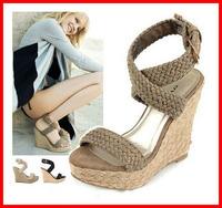 2014 new arrival fashion bohemia straw braid platform sandals for women open toe gladiator wedge sandals ladies women sandals