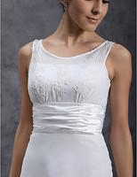Listen ! Smelling... Yesterday Once M......Sheath/ Column Scoop Tea-length Chiffon Wedding Dress