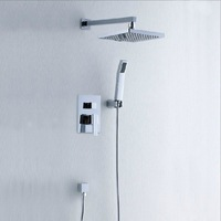"8"" Rainfall Shower head+ Arm + Control Valve+Handspray Shower Faucet Set IN-85"