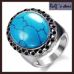 Wholesale titanium steel rings men | women 's ring cameo Turquoise jewelry TSb0053 Ralf 's store(China (Mainland))