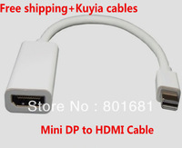 White mini displayport to hdmi cable adapter mini displayport male to hdmi female for apple mac book with retail package