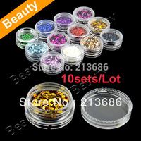 10sets/ Lot Nail Art Glitter Short Flash Powder Polish Builder Decoration  8251