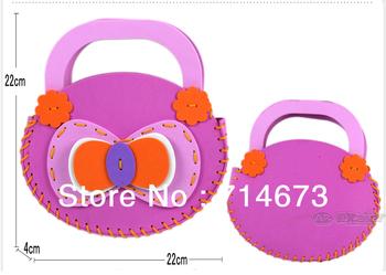 Free shipping!!!16pcs EVA DIY Cartoon Kids Handbag,Children Shopping Bag,Handmade Craft Kits, Educational Toys, Birthday Gift