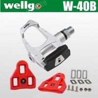 100% Original Wellgo Cr-Mo Spindle,Aluminum Body,Sealed Bearing Pedal,Match Cycling Shoes,296g/pair.High Quality,Silvery .W-40B