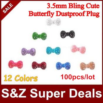 100pcs New Arrival cute crystal bowknot universal earphone ear cap dock dust plug for iPhone