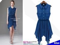 New Fashion Spring Summer Asymmetrical Dresses Chiffon Sleeveless Clothes Designer Brand Dress LY121454