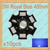 Freeshipping!10PCS 3W Royal Blue High Power LED Emitter 450-455NM with 20mm Star Platine Heatsink for Cabinet/Tank/Aquarium