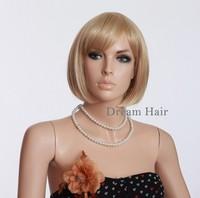 Office Ladies Hot  Blonde Short Wigs 11.81 Inch 100% KANEKALON Full Wigs Women Fashion Wigs With Fringe