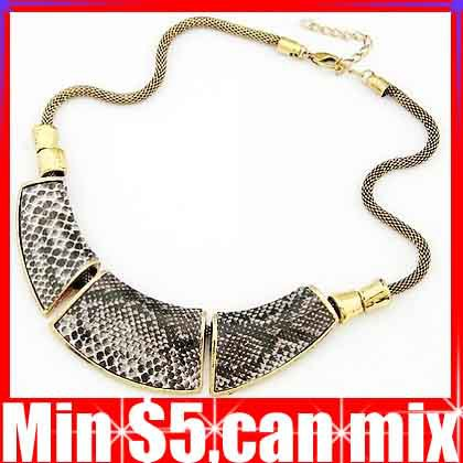 Antique Geometry Montage Snake Skin Leather Necklace Chokers Necklaces Free Shipping Min.Order $5(can mix)(China (Mainland))