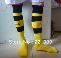 Football sport Socks 13-14 Borrussia Dortmund Club Home Soccer Socks,Football Long Thicken trainning cotton Socks