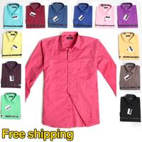 Free Shipping 2014 Fashion brand polo men Casual Business Slim Long Sleeves Men`s shirt Summer Cotton big size Dress shirts
