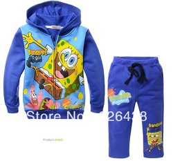 Children's Outfits Sets boy's blue Cartoon Spongebob printed Hooded+pants boy's 2 piece leisure suits(5pcs/lot)(China (Mainland))