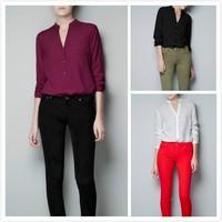 2013 Free shipping Spring&Summer ZA Europe & America ladies cotton shirt long sleeve chiffon self-Bluse, Sexy,Fashion Cardigan