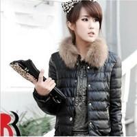 2014 wadded jacket women's slim short design winter jacket women slim fur collar women coat 3 colors Down & Parkas S23