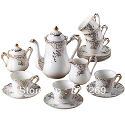 Creative ceramics High-grade coffee set Gift for wedding/party/birthday Platinum coffee set with 6 cups Ceramic tea pot(China (Mainland))