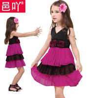 Children's dress clothing female child rose high waist princess vest cake one-piece dress   y2227