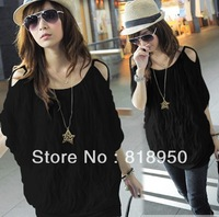 2013Fashion Korea Womens Waving Off-shoulder Batty Sleeve Tops Blouse T-shirts Casual Batwing Loose 2 Colors White Black