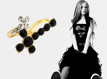 Very CheapBlack Crystal Ring Cross Double Finger Ring For Men/Women,R006