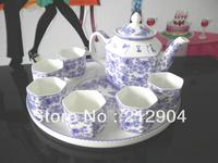 Free Shipping Blue And Withe Glaze Bone China Tea Set One Teapot And Six Tea Cup