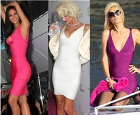 Sexy 4 Colors 2013 New Celebrity Dresses Deep V Neck White Black Red Purple Bandage Dress Prom Party Dress