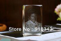 Wholesale  Souvenir LED 3D Crystal Photobook Inner Carving - MJ Michael Jackson / Customize