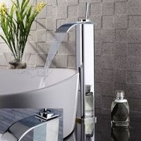chromed brass waterfall mixer tap bathroom basin sink square faucet