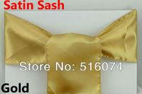 Free shipping/Wholesale 100pcs New Gold Satin Chair Sashes Bows 15cmX275cm  satin Wedding decoraions