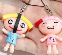 wholesale mixed 12pcs/lot Japanese sushi cell phone accessories Fruit salad keychain pendant phone dust plug hy042