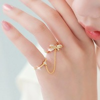 2013 New Arrival Sweet rhinestone bow chain double finger ring pinky ring joint ring female