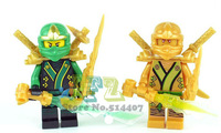 Without Original Box  Ninja Mini figures Gold Ninjaman Block 2pcs Set Cheap Ninja Building Block High Quality Free Shipping
