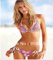New Hot Free shipping 2Pcs Hot Sale Sexy Strap Halter Padded Bikini Swimwear Swimsuit /Beachwear /Clubwear T72 S M L /US 4 6 8