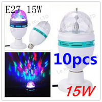 10pcs/lot  E27 15W 3 Color Energy-saving LED Light, Crystal Rotating Party Bulb Globe Lamp Bubble Ball Bulbs Free Shipping