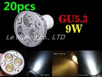 20pcs/lot GU5.3 3X3W 9W Dimmable LED Lamp AC85-265V Spotlight downlight lamp Free shipping