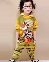children sets 2013 new kid's autumn set leopard clothes hoody + pant velve doggy deisgn two sides wearring