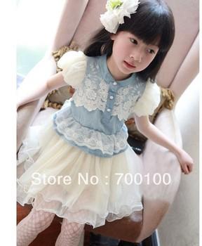 Free shipping.2013NEW STYLE .kid dresses for girls,Girl's denim dress,grenadine dress.Lovely princess dress size 100-130
