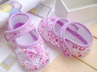 Free shipping 2014 Girls bow flowers Baby toddler shoes 11cm-13cm spring and autumn children footwear