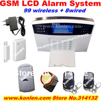 99 wireless +8 wired zones wireless home gsm burglar alarm system with lcd,voice,quad band850/900/1800/1900mhz