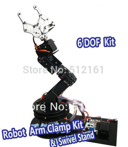 Alloy 6 DOF Robot Arm Clamp & Claw & Swivel Stand Mount Kit for Arduino