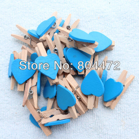 400x Mini Cute Wooden Heart Clip Pegs Blue Heart Kid Party Favor Supply 3cm Wood Pegs Free Shipping Worldwide 1507(China (Mainland))