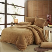 Coral Fleece bedding set, pure color bedding. Comfortable and luxury bedding set.