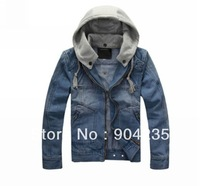 New Fashion Men Vintage Classic Detachable Hood Denim Jean Coat Jacket