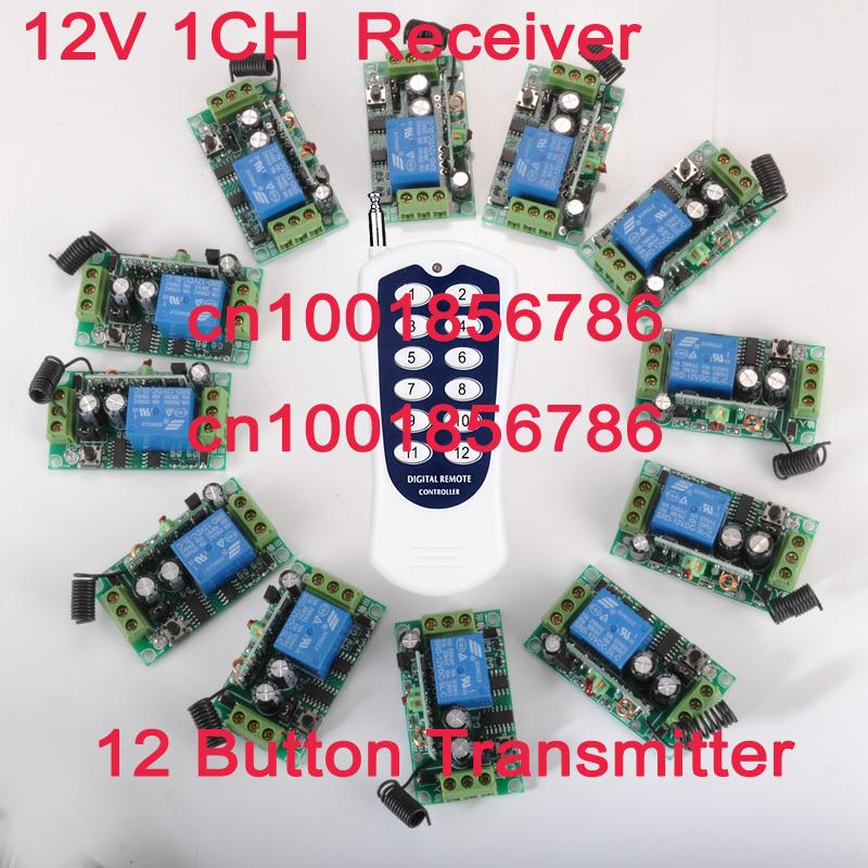 12ch schalter rf drahtlose fernbedienung umschalten system-sender +12 Empfänger( Schalter) 12v 10a Ausgang Zustand ist einstellbar