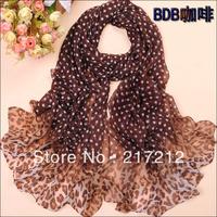 Free Shipping!New Women's Fashion leopard printed Design chiffon georgette silk scarf/ shawl!