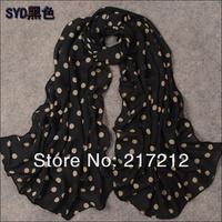 Free Shipping! Spring and Summer 2013 New Women's Fashion dot printed Design chiffon silk scarf/ shawl!