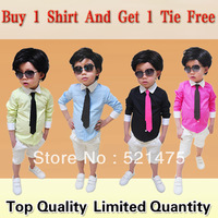 Promotion! High Quality NEW 2013 Boys Fashion Shirt Children Tops Summer Wear kids long sleeve Popular School Uniform For Boys