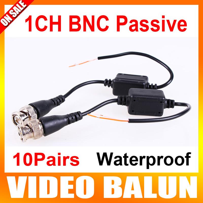 10Pairs 1Ch Passive Video Balun Waterproof Weatherproof Design Twisted BNC Transceiver(China (Mainland))