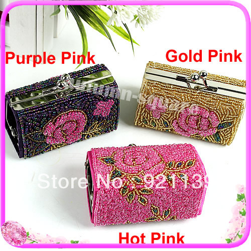 Star8 Exquisite Crafts Beaded Clasp Clutch Cocktail Boxes Purse Cosmetic Evening Bag(China (Mainland))