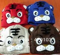 Children tiger hat cartoon baby crochet beanie infant knitted linecaps toddler cap Kids children caps WH7082