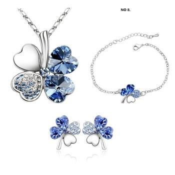 Wholesale fashion white gold plated clover crystal rhinestone  jewelry set make with AU crystal element 9554s